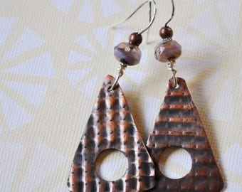 Copper earrings with lavender Czech glass beads, metal earrings, rustic earrings, artisan earrings
