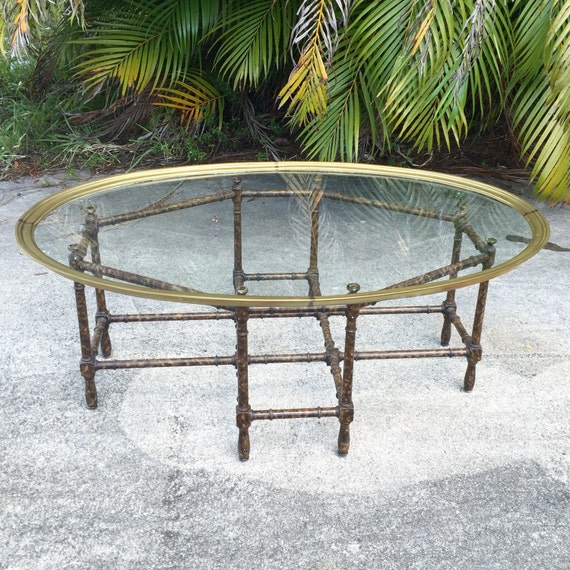 Long Bamboo Coffee Table: Vintage Hollywood Regency Brass And Glass Tray Top Coffee
