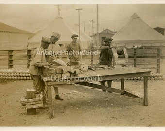 Soldiers making shells outdoor foundry antique military photo