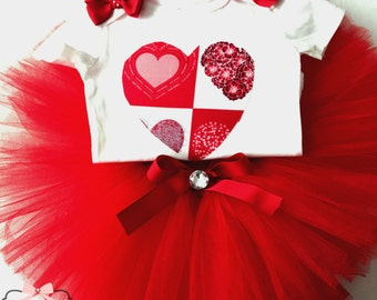 Red Tutu Set, Girl's Red Heart Tutu Set, Girl's Red Tutu And Shirt Set, Take Baby Home Outfit, Baby Going Home Set, Baby Girl Red Outfit