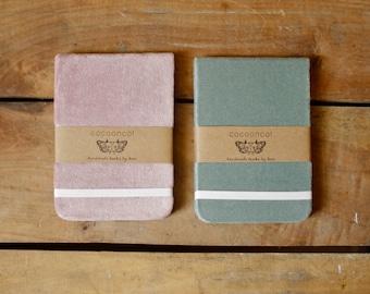 Organic Velvet Cover, Lavender or Dusty Blue, Drawing Vellum, Handmade Journal/Sketchbook/Notebook/Pocket Memo
