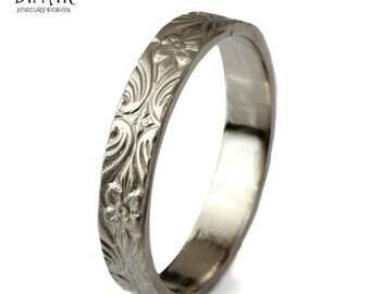 14k white gold wedding band ,4mm thin gold ring , Engraved leaf and flowers , women's wedding band, gold wedding ring ,vintage wedding band