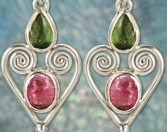 Stunning Green & Pink Tourmaline Sterling Silver Earrings SE93