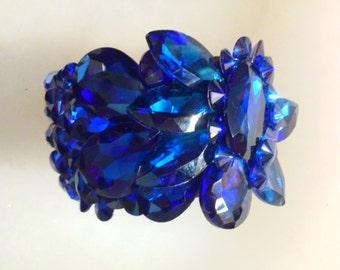 Blue Rhinestone Cuff