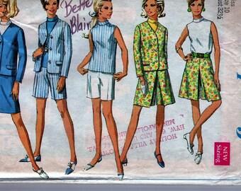 1968 Sewing Pattern Simplicity 7548 Miss Size 10 Bust 32.5 Waist 24 Hip 34.5 COORDINATES Misses' Jacket, Skirt or Pantskirt, Shorts & Blouse