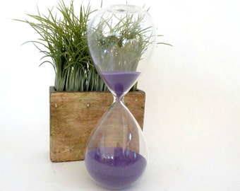 Large Hourglass, Hour glass, Purple Sand, Sands of Time, Sparkling Glass, Sand Time Keeper, Time Out Timer, Purple Hourglass
