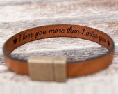 Hidden Message Bracelet, Personalized Leather Bracelet, Secret Message Bracelet, Custom Quote Bracelet, Couples Gift, Fiance Boyfriend Gift