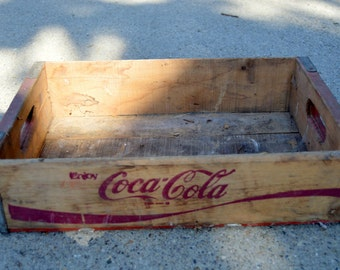 Coke Crate Coca Cola Vintage Wooden Crate Red #11