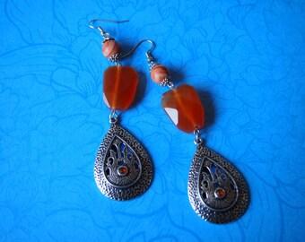 Earrings, Carneool Earrings, Oriental Earrings, Boho Earrings, Long Earrings