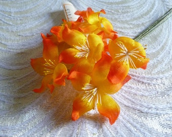 Vintage Millinery Flowers Orange Bright Yellow Bouquet of Six for Easter, Corsages, Wreaths NOS