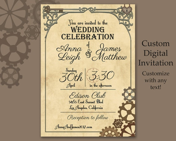 steampunk wedding invitations vintage steampunk invitation custom digital file 7696