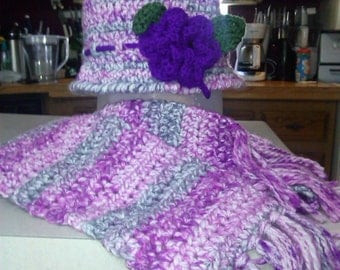 Crochet Ladies Winter Hat and Scarf