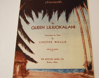 Vintage Sheet Music, Alsoha Oe (Farewell)