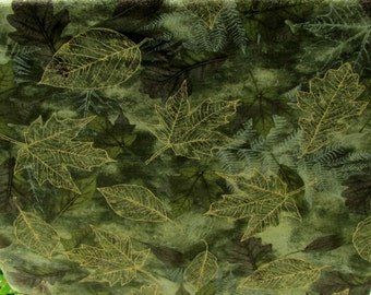 Fall Floral Fabric Green With Gold Leaves