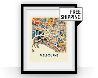 Melbourne Map Print - Full Color Map Poster