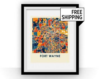 Fort Wayne Map Print - Full Color Map Poster