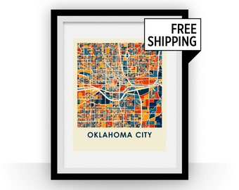 Oklahoma City Map Print - Full Color Map Poster