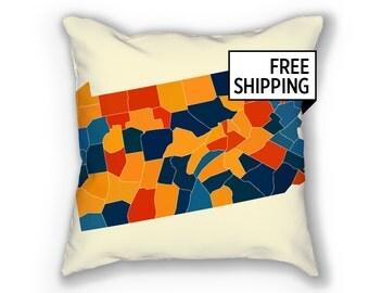 Pennsylvania Map Pillow - PA Map Pillow 18x18
