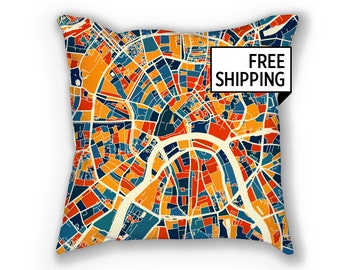 Moscow Map Pillow - Russia Map Pillow 18x18