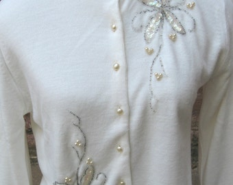 "Vintage 1950""s White Beaded  and Sequined Sweater"