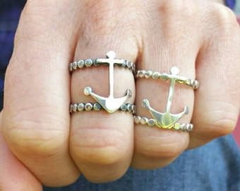 Double Band Anchor Sterling Silver Anchor Ring, Silver Anchor, Anchor Ring, Double Band, Nautical ring - RS11