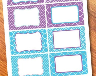 Printable Labels Purple/Blue.