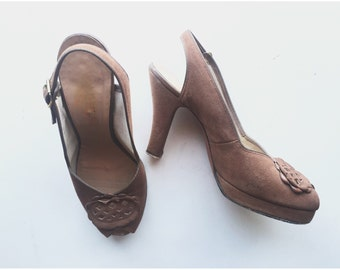 1940s Suede peep-toes with Cutouts