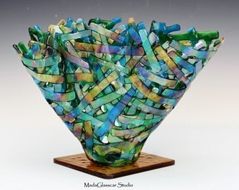 Lacey Iridescent Fused Glass Vase