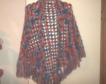 Vintage bright colorful hippie boho shawl FREE SHIPPING