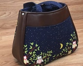 Custom Listing for Bryanna, Ethel Tote, Bag, Purse, Blue, Owl, Fox,  Stars, Brown Faux Leather,