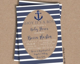 Baby Shower Invitation //Boy//Anchor//Sailor