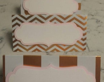 Gold Foil White and Pink Placecards for Any Ossasion