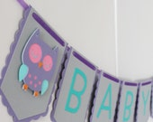 Baby Shower Banner - Baby Girl Banner - Owl Theme Banner - Girl Owl Banner - Party Banner - Party Decor- Purple Gray Teal