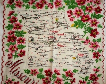 Vintage Missouri Map Souvenir Handkerchief - Franshaw Pink and Red floral