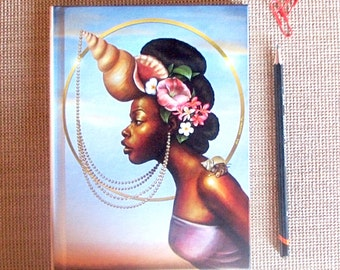 Journal, Diary, Hardcover Notebook, Cancer, Zodiac, African American Art, Black Woman, Goddess, Afrofutrism, Natural Hair, Fantasy