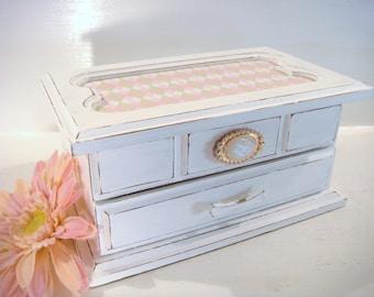 White jewelry box, girls jewelry box, shabby chic box, wood jewelry box, pink jewelry box, embellished box