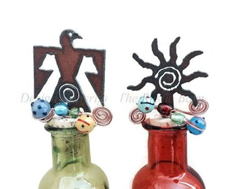 THUNDERBIRD with SWIRL or SUN Southwest Rusty Rustic Rusted Metal States Wine Bottle Cork Stopper Topper