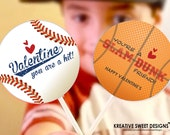 Personalized Sports Valentine's Printable Sucker Toppers DIY