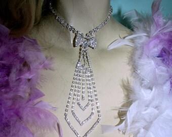 Rhinestone Necklace Choker Tie Crystal Pageant Prom Jewelry
