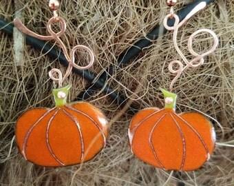 Pumkins on a vine earrings