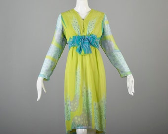 Vintage 60s Psychedelic Jerry Marsch for Mardi Gras Long Sleeve Dress Green Blue Empire Waist Midi Length Plus Size