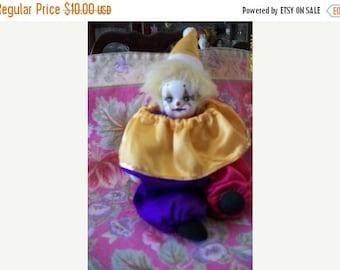 SHOP4FUN Harlequin Clown Doll Colorful Satin