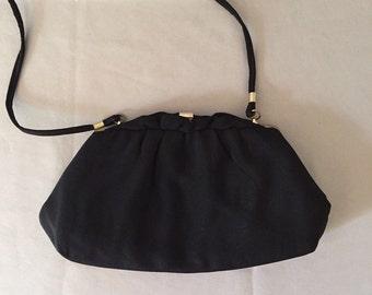 1940s black wool clutch   golden frame kiss lock purse