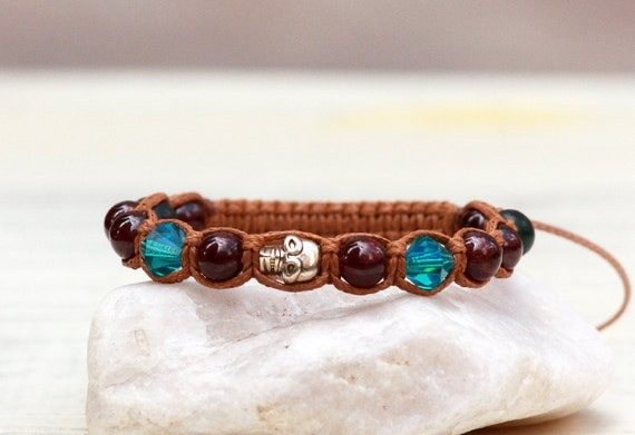 Skull bracelet, Shamballa Tibetian Style Bracelet, Garnet bracelet, Jade bracelet, Swarovski bracelet, Macrame bracelet, Women bracelet