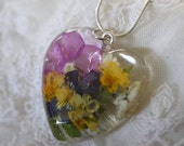 Enjoy 50% OFF Now Flower heart pendant, resin flower pendant, flower necklace, resin necklace, mother's day necklace, made in canada, multic