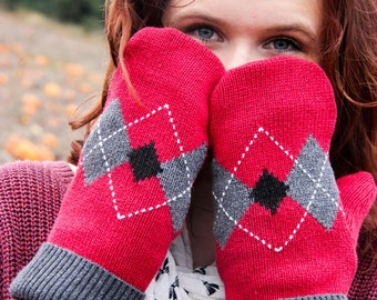 Mittens, Red Black & Gray Argyle Upcycled Sweater Mittens