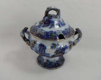 SALE Cleopatra Flow Blue Polychrome Sauce Tureen by Morley