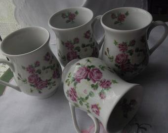 Set of 4 Shabby Chic Mugs, Pink Rose Mugs, Vintage Mugs,