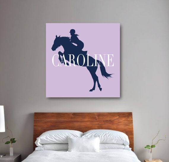 Horse wall art girl 39 s equestrian bedroom decor preppy for Horse bedroom decor