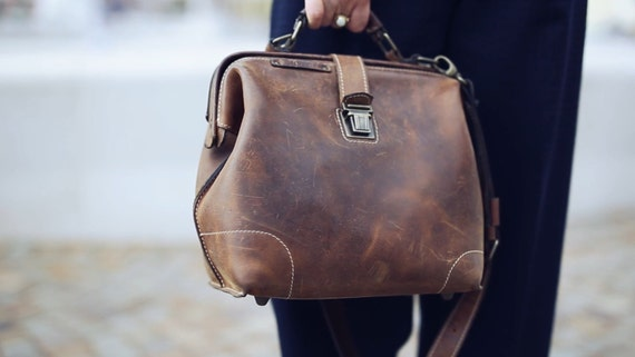 Leather doctor bag, Metal framed doctor bag,
